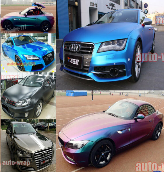 New Car Glossy Mirror Satin Chrome 3D 4D 5D Carbon Fiber Vinyl Wrap Sticker ACAC