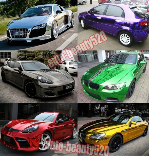 Select - Flat Entire Car Glossy Mirror Chrome Vinyl Wrap Film Sticker Decal ACAC