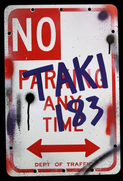 TAKI 183 Original on Metal HAND SIGNED GRAFFITI LEGEND + stickers banksy cope2