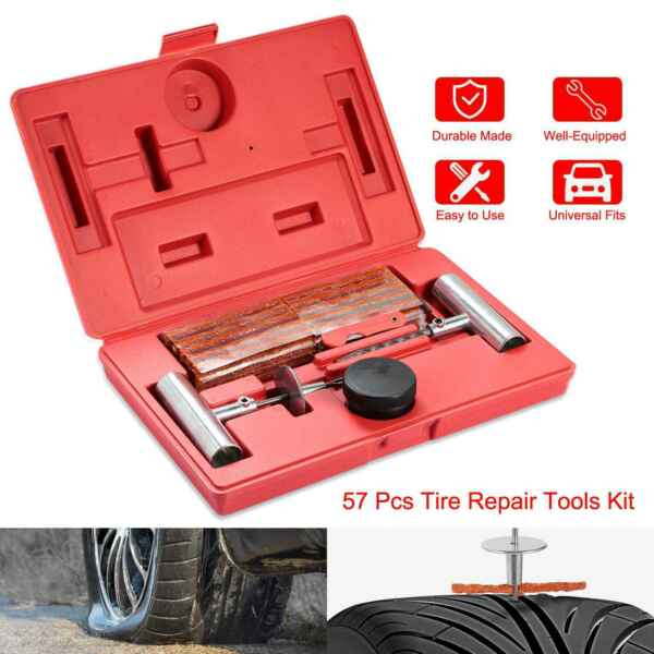 57Pcs Universal Heavy Duty Kit Flat Tire Repair Tools Car Truck Flat Puncture US