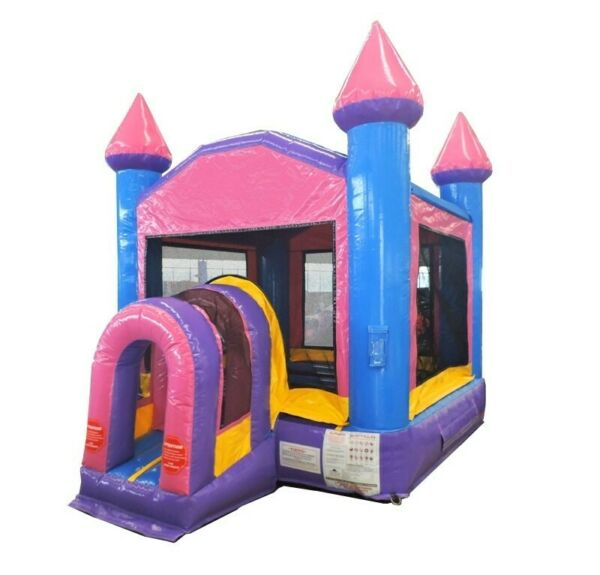 Pink Purple Blue Indoor Commercial Inflatable Compact Bounce House With Blower