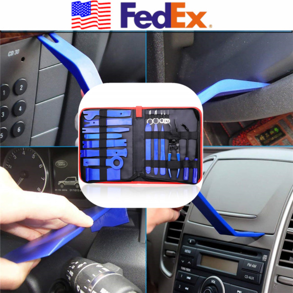 19PCS Blue Auto Tool Removal Install Kit Car Interior Panel Trim Puller Pry USA
