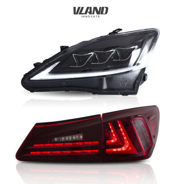 For Lexus IS250 350 ISF 2006-2012 2 Pair LED Tail Lights+Headlights