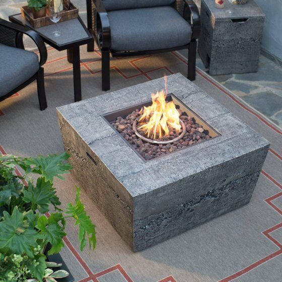 Large Fire Pit Table Square 35 In Natural  Gas Patio Deck Backyard With Cover