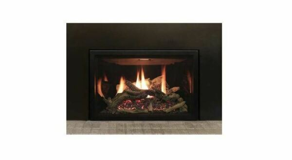 Rushmore 35 DV NG Insert wCharred Logs BL Liner & 44x31 Surround