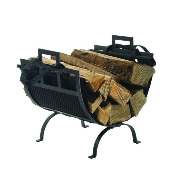 Pleasant Hearth 1.4 ft. Decorative Firewood Rack w Removable Canvas Tote Black