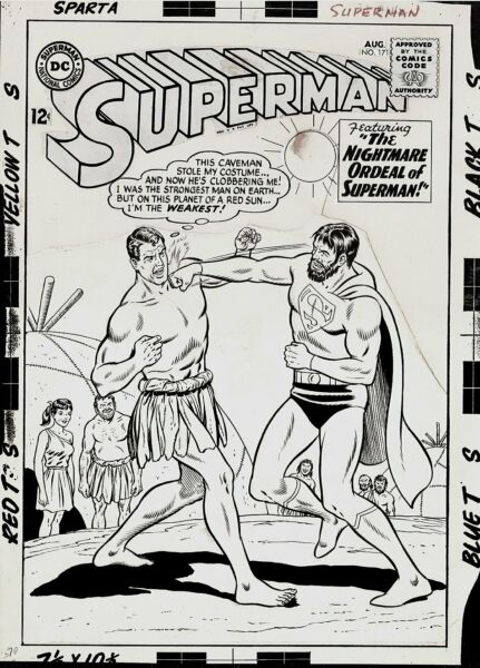 SWAN CURT - SUPERMAN #171 COVER ORIGINAL ART (LARGE ART) 1966