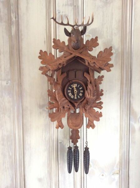 "BLACK FOREST GERMANY HUNTER STYLE MUSICAL CUCKOO CLOCK Thorens Music 18"" X 10"""