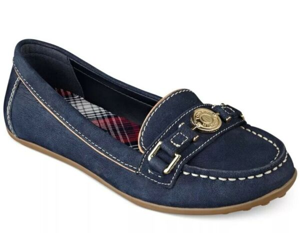 New Tommy women elsie driving mocs Leather navy 8 shoes gold lock mocassin $53.99