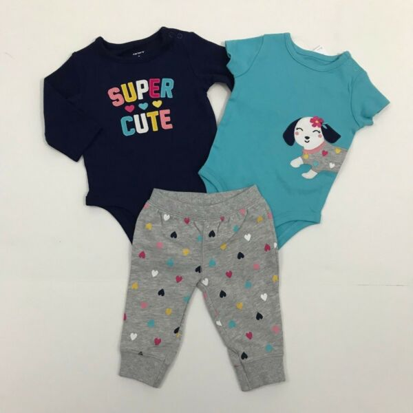 Carter's NWT Baby Girl 3 6 Months 3 Piece Set NWT Puppy Dog Heart SUPER CUTE