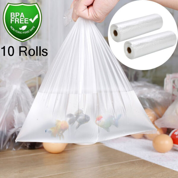 10x Clear Plastic Produce Bags 12x20 350Roll Kitchen Food Storage Supermarket