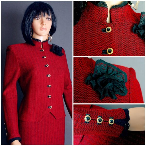 STUNNING ST.JOHN TWEED KNIT 2PCSUITJACKET SKIRTRED BLKLACE FLOWER PIN6 8CHIC