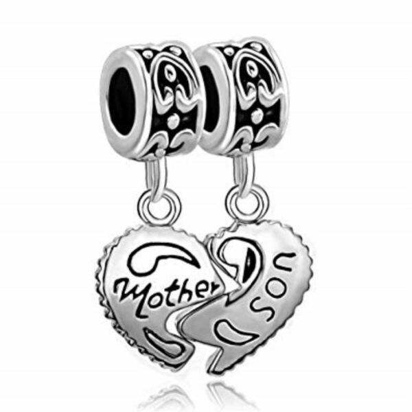 Silver Heart Mother and Son Jewelry Pandora Charm Bracelet Free Shipping New