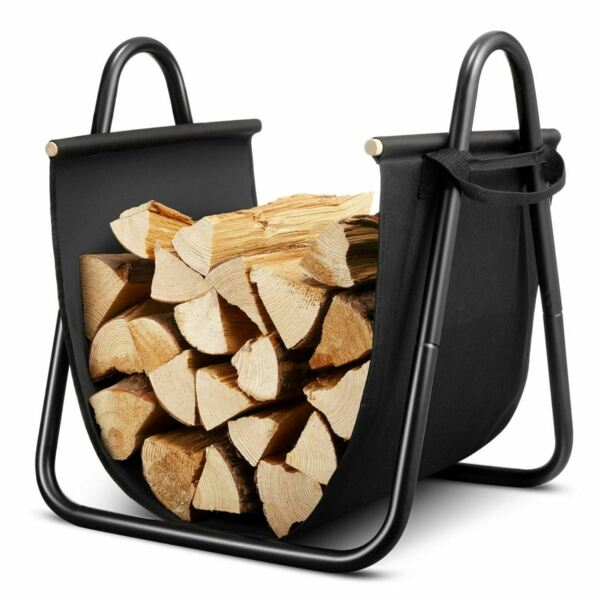 Fireplace Log Holder with Canvas Indoor Fire Wood Stove Stacking Rack Storage