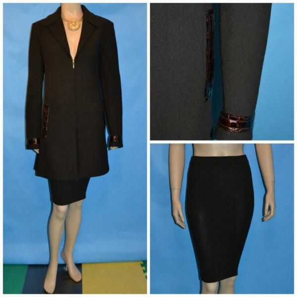 St. John Collection Knits Brown Jacket Skirt L 10 2pc Suit Zipper Leather Trims
