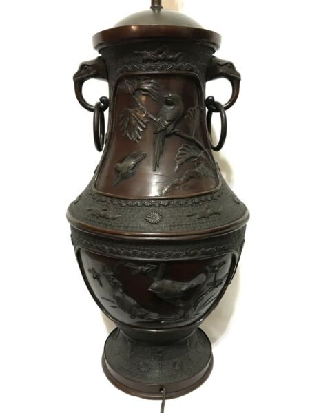HUGE Antique Signed Japanese Meiji Bronze Vase Lamp w Lark Relief Baku Handles