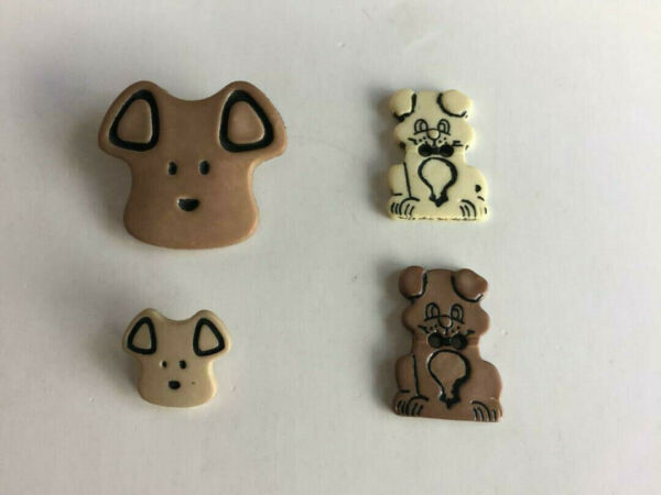 Lot of 4 Cute Brown Dog Sewing Buttons $0.99
