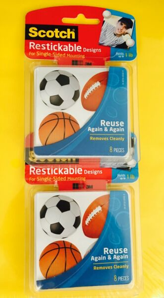 2 PACK Scotch Restickable Designs SPORTS Single Sided Mounting R106 SPORTS