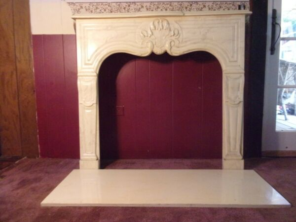 Cultured Travertine Marble Vintage Fireplace Mantel Surround & Hearth