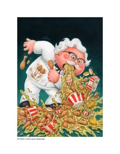 Garbage Pail Kids style KFC Colonel Sanders Limited Edition Giclée Print SIGNED!