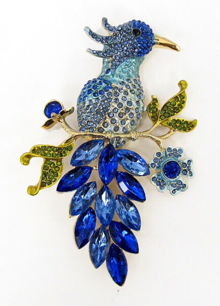 Large Blue Crystal Peacock Brooch Pin for Women NEW