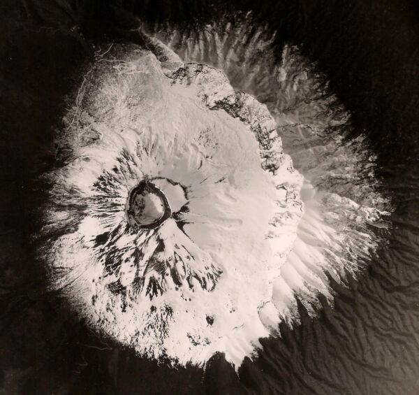 Old Vintage USAF Abstract Art Photo EYE OF THE VOLCANO Mt. Vesuvius Naples Italy