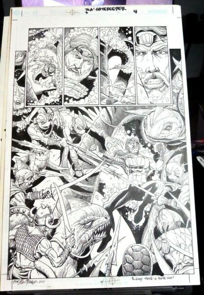 SIGNED TIMOTHY TRUMAN AQUAMAN ORIGINAL ART PAGE 23 SPLASH AGAINST FISH WARRIORS