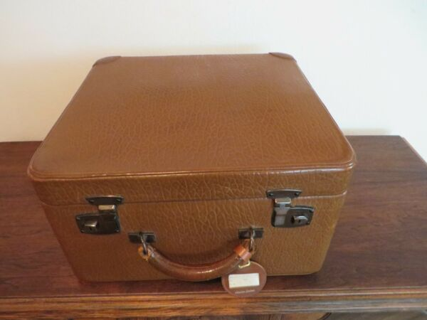 VINTAGE LEATHER TRAIN CASE SUITCASE LUGGAGE CUSTOM MADE LINED W PROTECTIVE COVER