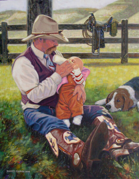ORIGINAL OIL PAINTING COWBOY FATHER WESTERN ART BABY & DOG Listed Artist NR!