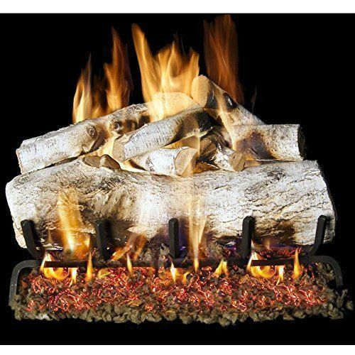 Peterson Real Fyre 30-inch Mountain Birch Log Set With Vented nglp Electronic