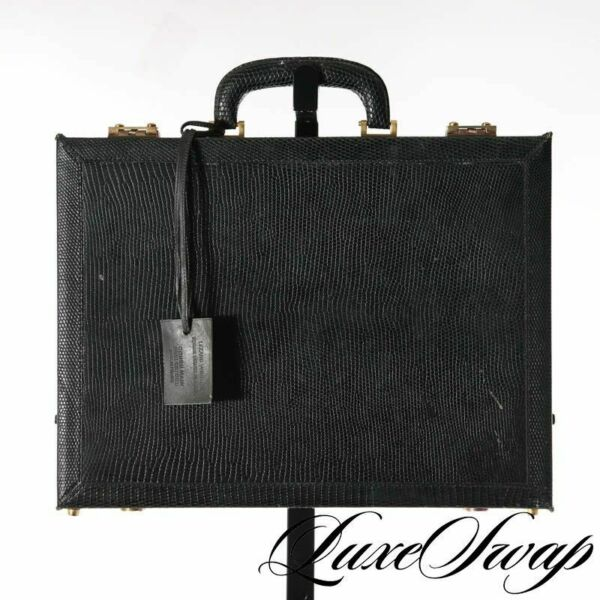 Van Cleef & Arpels Lizard Skin Black Gold Atache Briefcase Bag France RARE