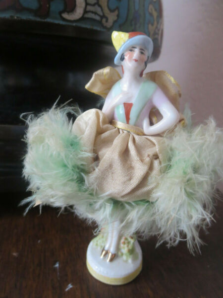 Vintage Germany Porcelain Pin Cushion Full Doll