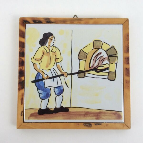 Vintage Bread Baker TILE TRIVET or WALL DECOR Wood oven hot plate made in Spain $18.99
