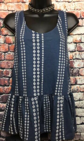 NEW NEXT 14 blue floral long peplum sleeveless stripe embroidered tunic top