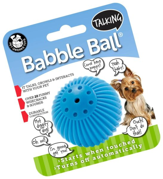 Pet Qwerks Talking Babble Ball Interactive Dog Toy Wisecracks and Makes Funn...