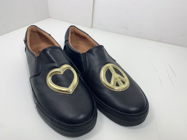 Black And Gold Peace love moschino shoes women Size 39 Eur 8.5 US $199.95