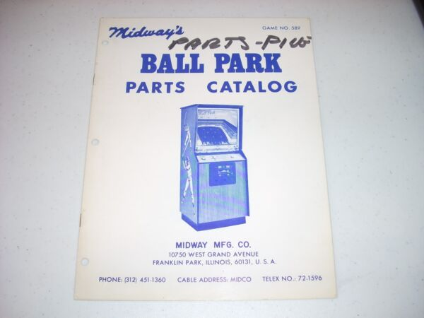 MIDWAY BALL PARK Parts Manual #589 1974 EX condition 8 pgs $49.99