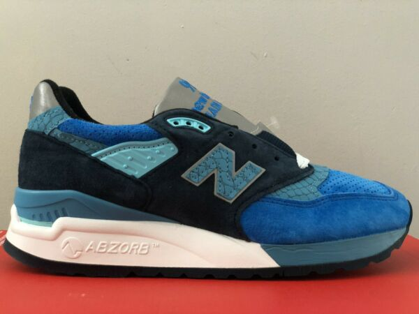 New Balance 998 M998NE Men's Size 5 Made In USA Blue Navy White Silver Fish