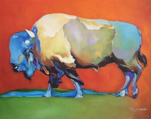 """Original Indian Western Art Buffalo Bison Oil Painting on CanvasSigned 30"""" X 40"""""""
