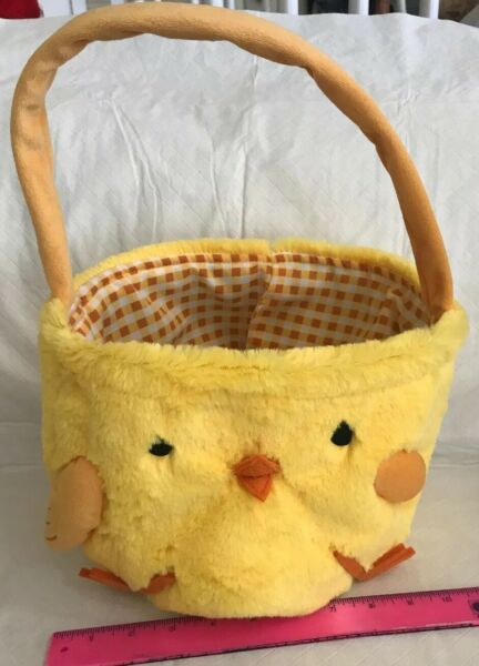 Chick Easter Basket Yellow Plush Gingham Lined Soft w Handle Baby Chicken Pail