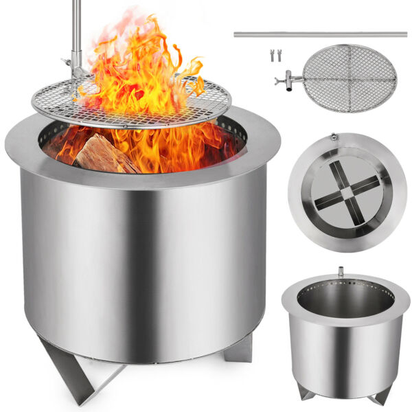 Double Flame Patio Fire Pit  Wood-Burning Smoke-less Portable Stainless Steel