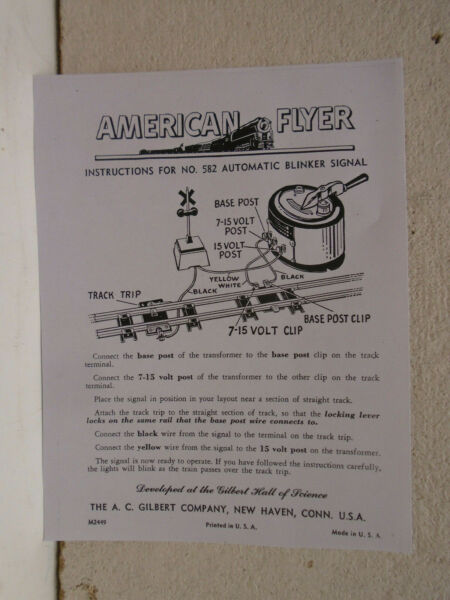 REPRO AMERICAN FLYER #M2449 INSTRUCTIONS FOR #582 AUTOMATIC BLINKER SIGNAL $9.99