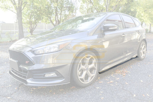 CARBON FIBER Add-On Side Skirts Panel Extensions For 13-Up Ford Focus ST  RS
