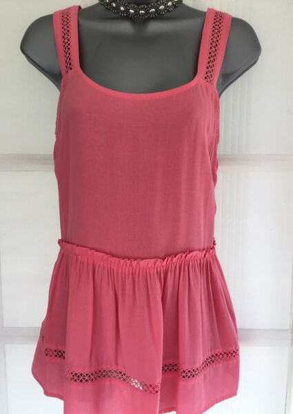 NEXT 10 BNWT coral pink long peplum sleeveless blouse cami tunic vest top