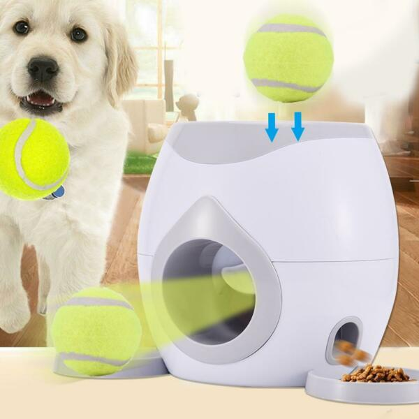 Pet Training Ball Launcher Dog Toy Thrower Machine Fetch Automatic Food Reward