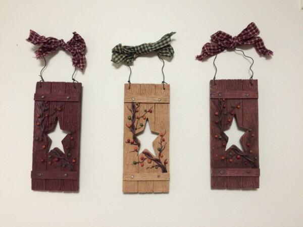 Primitive Country Star Vine Berry Folk Art Plaid Bow Hanging Wall Decor Trio $37.99