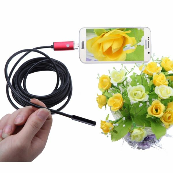 7mm Lens Car Inspection Camera Scope 6LED Borescope Tube Cable Android PC 5M USA