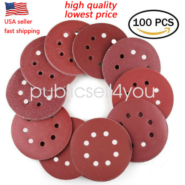 100 PC 5 inch 8 Hole Hook and Loop Round Sandpaper Discs Sanding Sheets US