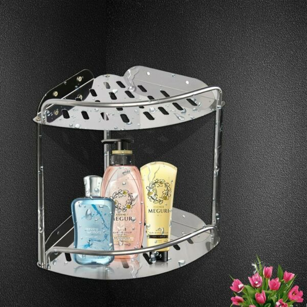 Bathroom Corner Storage Shower Rack Shelf Organiser Basket Kitchen Supplies BT