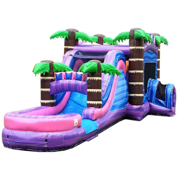 Mega Tropical Purple Commercial Inflatable Water Slide Bounce House With Blower